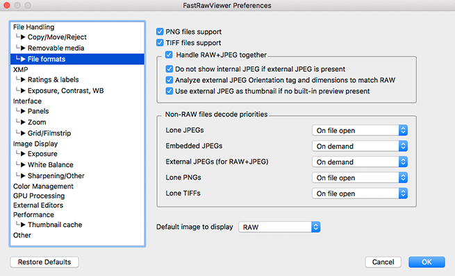 FastRawViewer 1.5. Preferences-File Formats