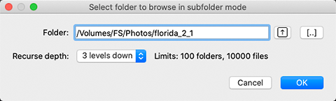 FastRawViewer. Choose parent folder to browse in subfolder mode