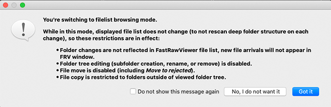 FastRawViewer. Choose list for Confirm switching to FileList Mode