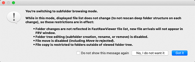 FastRawViewer. Confirm switching to Subfolder Browse Mode