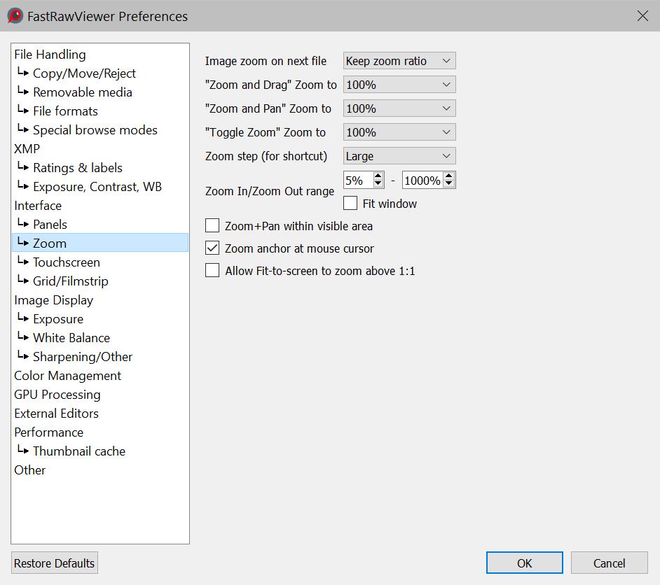 Program Settings | FastRawViewer