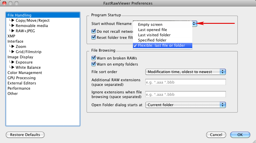 FastRawViewer 1.3.9. Start without file name