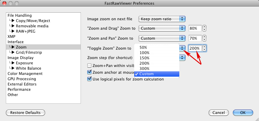 FastRawViewer 1.4.2. Setting custom zoom values in Preferences