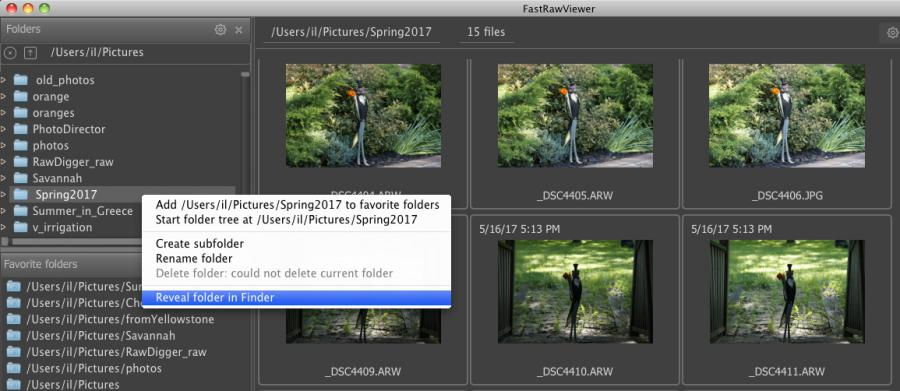 FastRawViewer 1.4.3. Show in Windows Explorer/Reveal in Finder