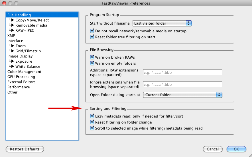 FastRawViewer 1.4. Preferences - File Handling - Sorting and Filtering