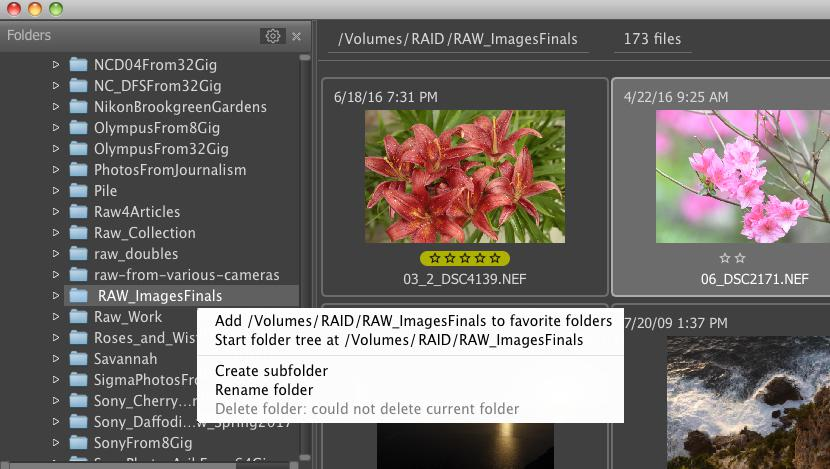 FastRawViewer 1.4 Create/add/rename subfolders Context Menu