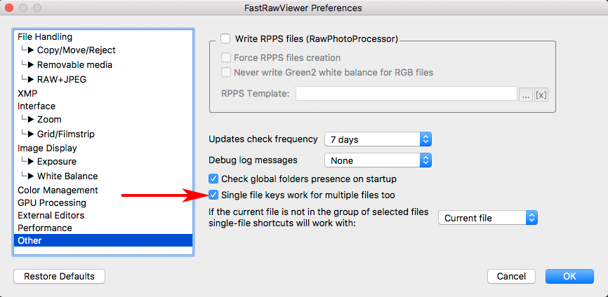 FastRawViewer 1.4.4 Preferences. Single File Key for Multiple Files