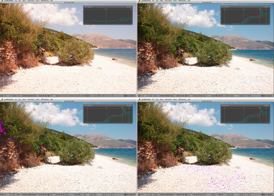 FastRawViewer. Beach at noon. False clipping in highlights