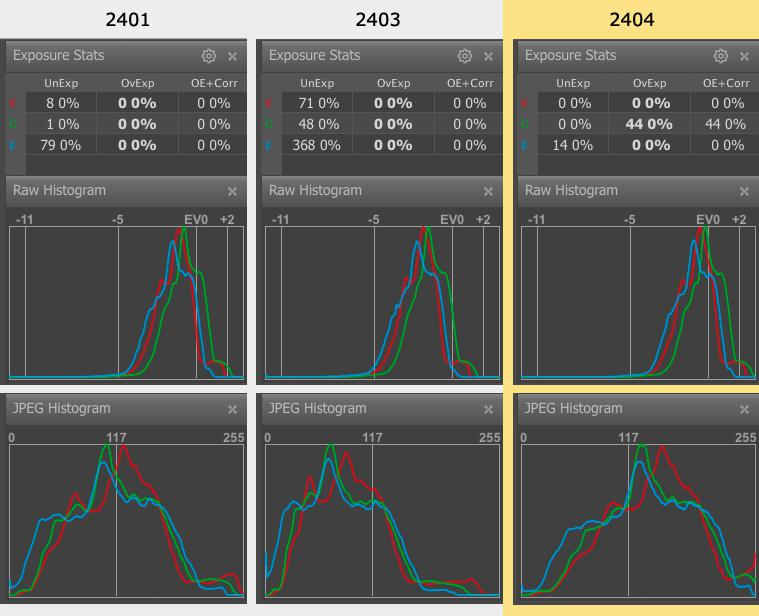 FastRawViewer. Shots 2401, 2403, 2404. Raw and JPEG Histograms and Raw Statistics
