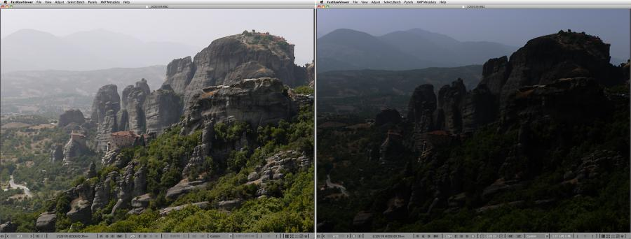 FastRawViewer. Meteora hills. Highlight Inspection