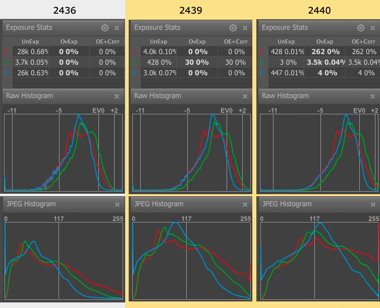 FastRawViewer. Shots 2436, 2439, 2440. Raw and JPEG Histograms and Raw Statistics