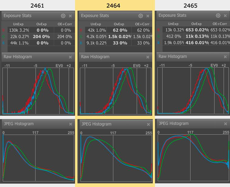 FastRawViewer. Shots 2461, 2464, 2465. Raw and JPEG histograms and Raw Statistics