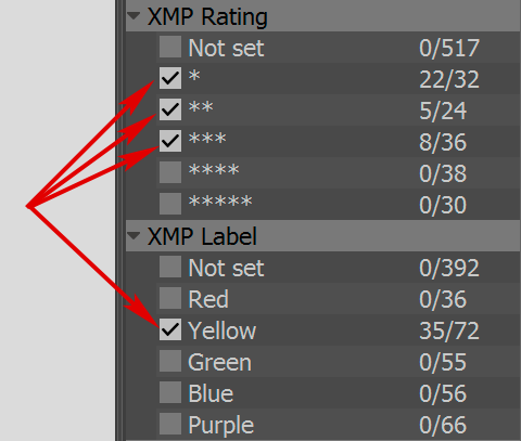 FastRawViewer 1.4 Sorting XMP Rating and Labels