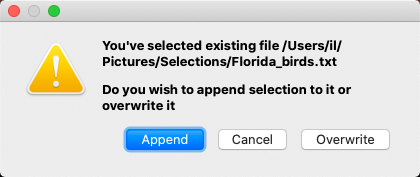 FastRawViewer. Confirm Append Selection to file